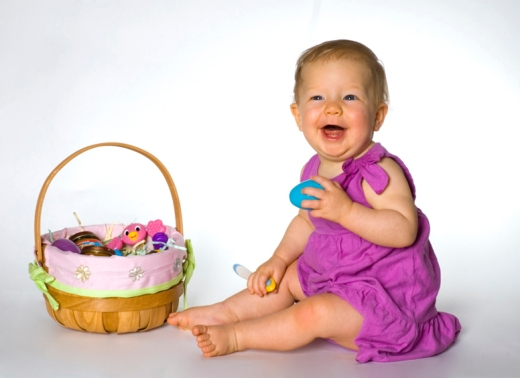 a portrait of a baby on easter