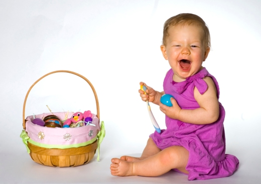 Ava expresses joy at the contents of her easter basket
