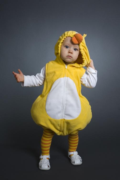 baby in duckling costume